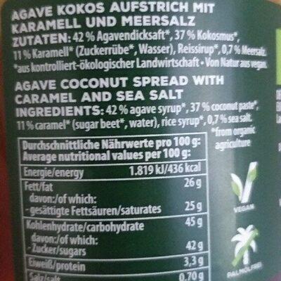 Agave Kokos Aufstrich mit Karamell und Meersalz - Ingrédients - de