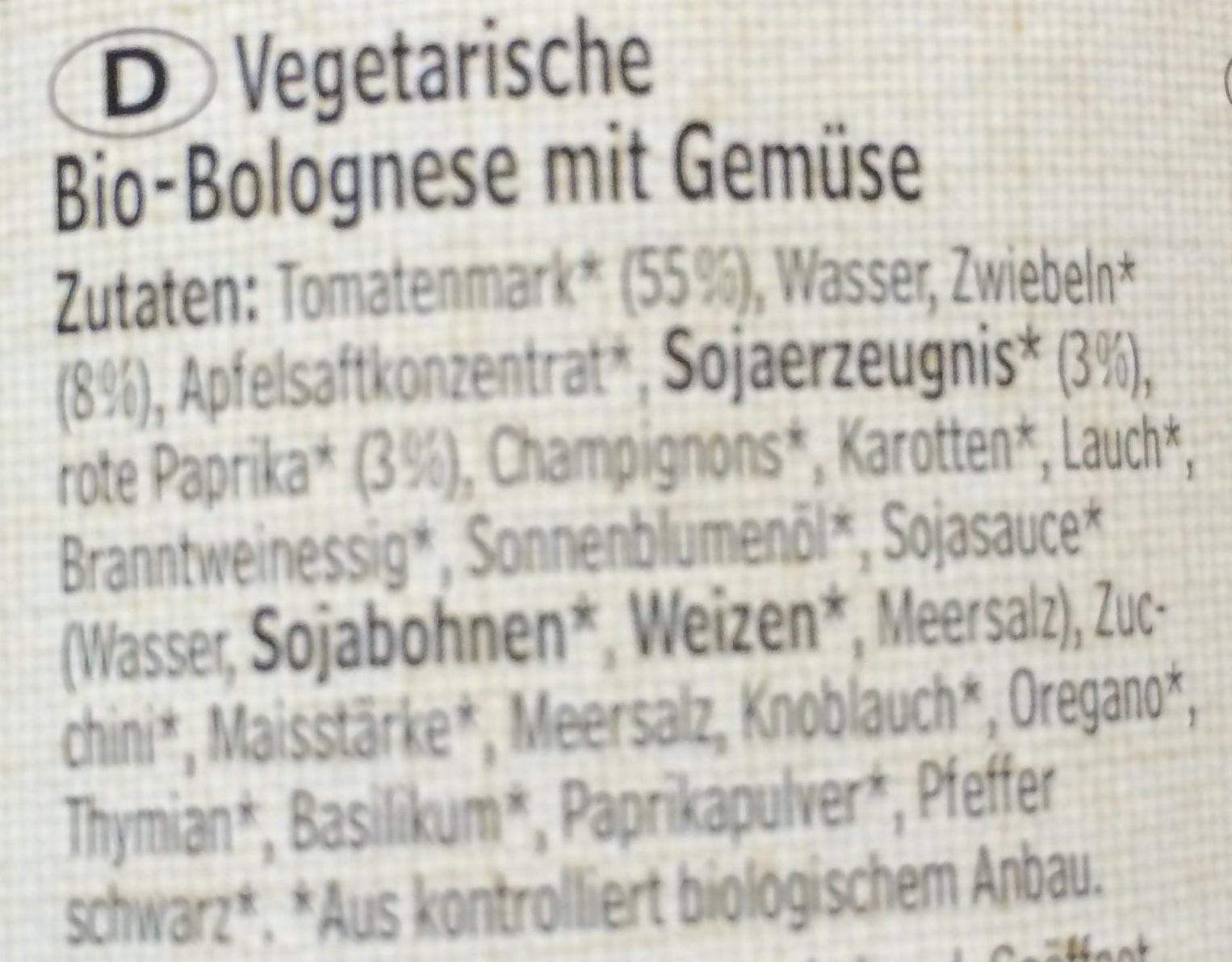 Gemüse Bolognese - Ingrédients - de