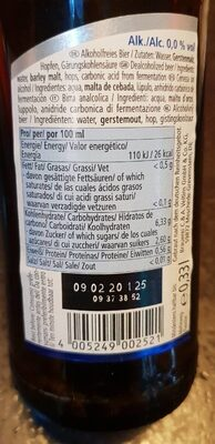 Cerveza sin alcohol - Nutrition facts