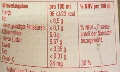 Fassbrause - Nutrition facts - de
