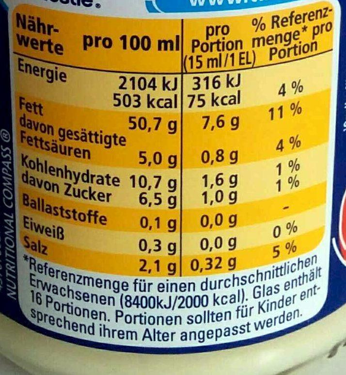 Salat Mayonnaise - Voedingswaarden - de