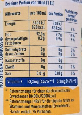 Sonnenblumenöl - Nutrition facts - de