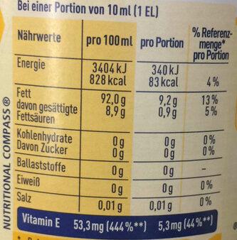 Sonnenblumenöl - Voedingswaarden - de