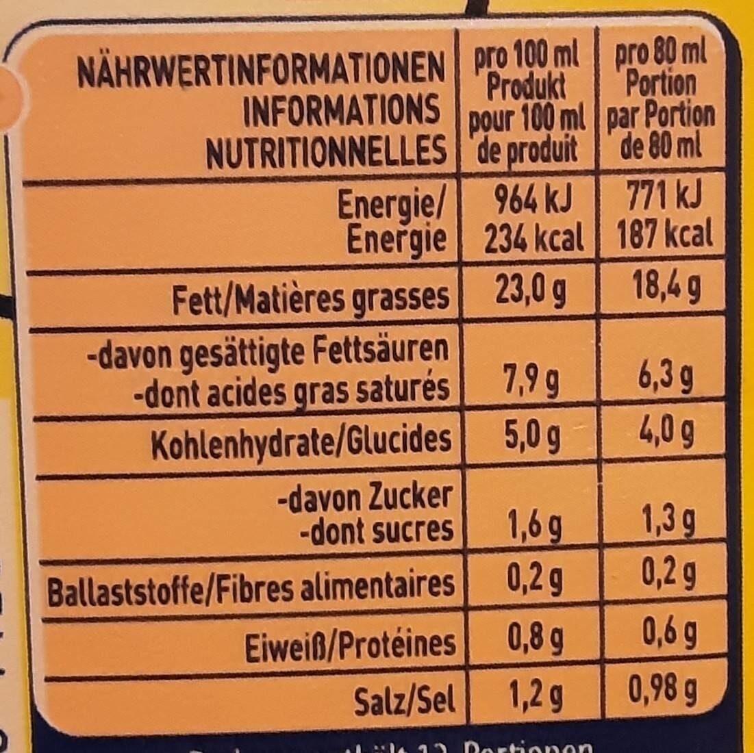 Sauce Hollandaise Gourmet - Voedingswaarden - de