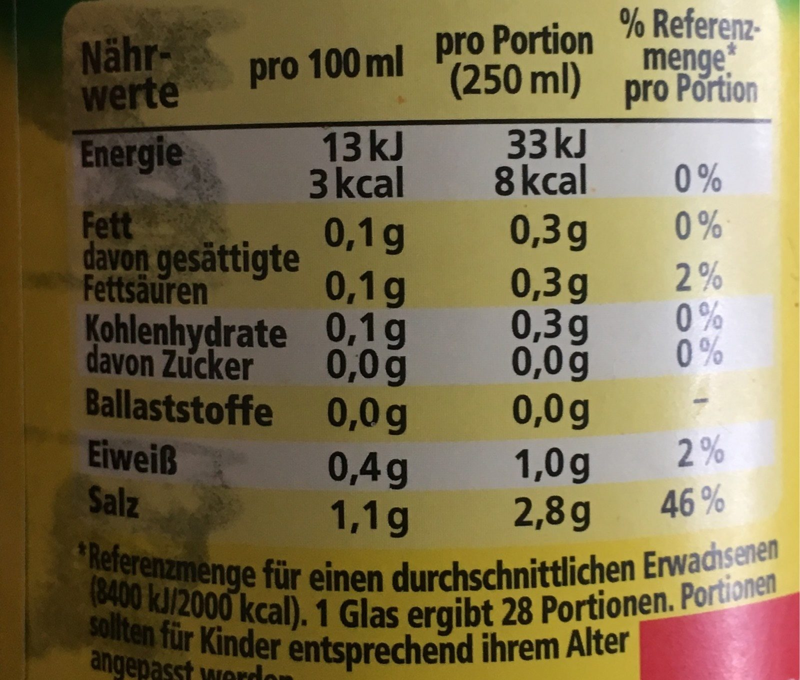 Klare Gemüsebrühe - Informations nutritionnelles