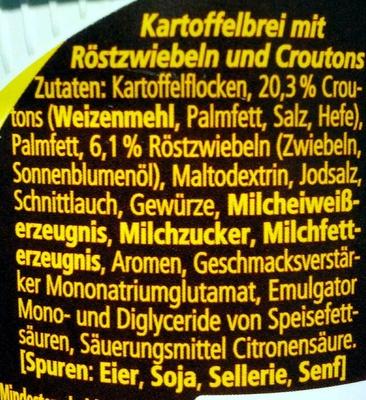 Kartoffelbrei mit Röstzwiebeln & Croutons - Ingrédients - de