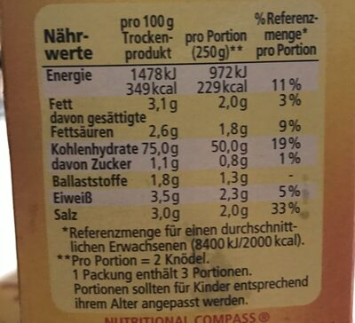 Maggi 6 Knödel Halb / Halb - Ingredients - fr