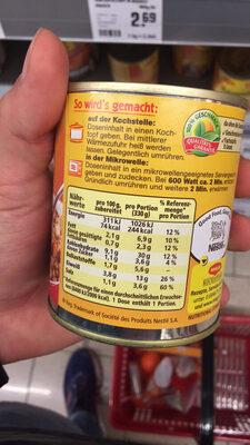 Ragoût de lentilles au bacon - Nutrition facts - fr