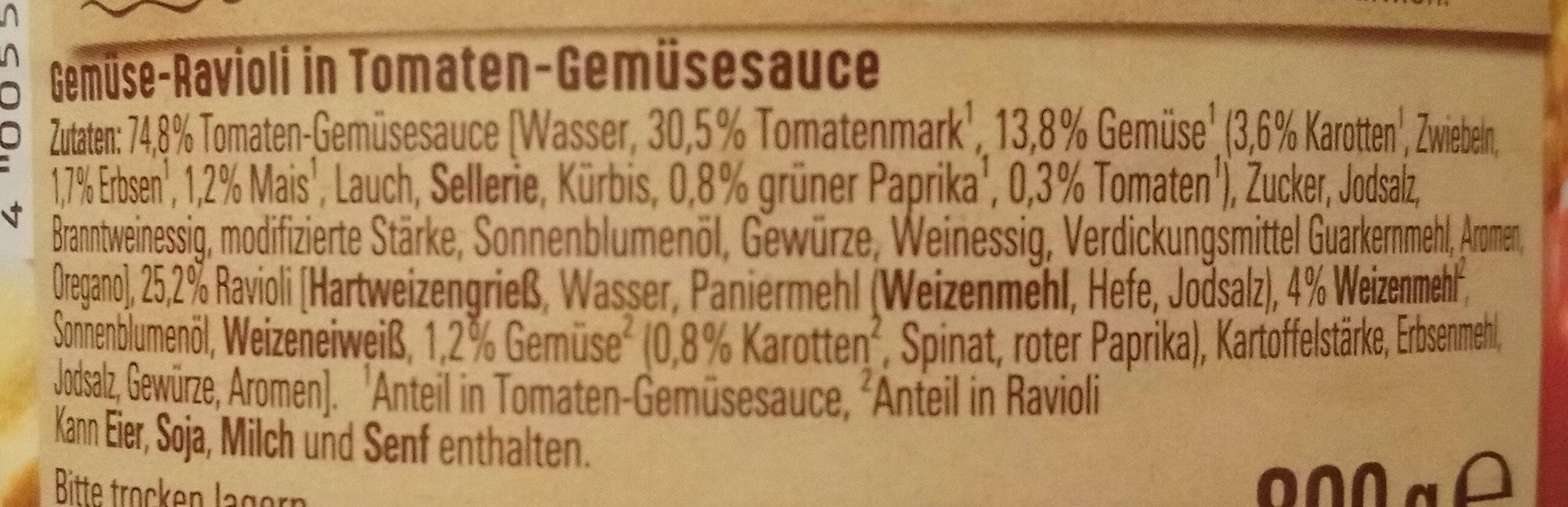 Ravioli Gemüse - Inhaltsstoffe - de