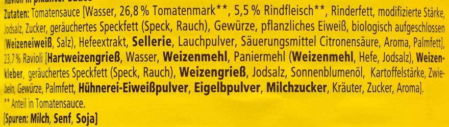 Ravioli in pikanter  Sauce - Inhaltsstoffe - de