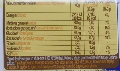 Crunch chocolat blanc - Nutrition facts