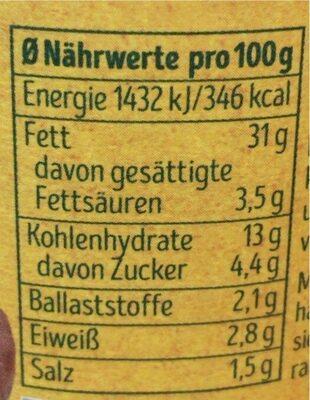 Soo cremig Süßkartoffel Kurkuma - Nutrition facts - de