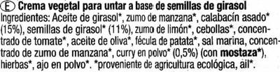 "Paté vegetal ecológico ""Tartex"" Cremisso - Calabacín - curry - Ingrédients"