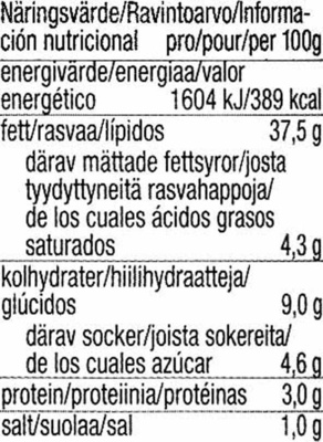 "Paté vegetal ecológico ""Tartex"" Cremisso - Calabacín - curry - Nutrition facts - es"