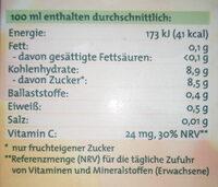 Sanfte Säfte Pink Grapefruit-Apfel-Sweetie - Nährwertangaben - de