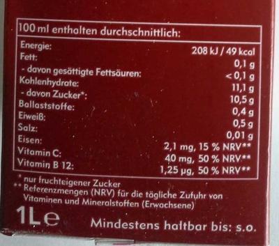 Amecke +Eisen - Voedingswaarden - de