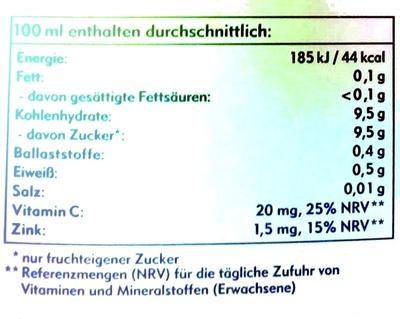 Amecke Zink + Vitamin C - Nutrition facts - de