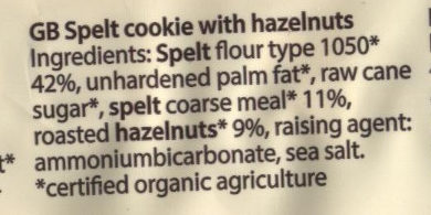 Cookie, Dinkel Haselnuss - Ingredients