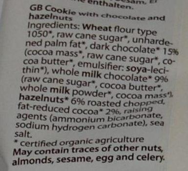 Mini Cookie - Ingredients
