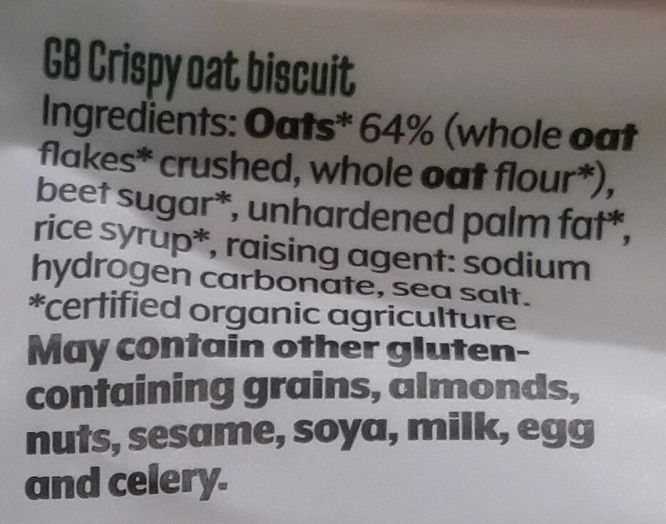 Haferling crispy oat - Ingredients - en