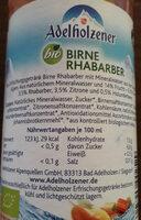 Adelholzener bio Birne-Rhabarber - Ingredients
