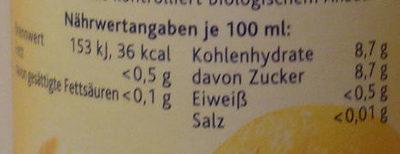 Bio Orange - Nutrition facts