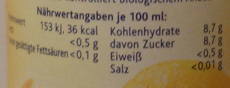 Bio Orange - Voedingswaarden - de