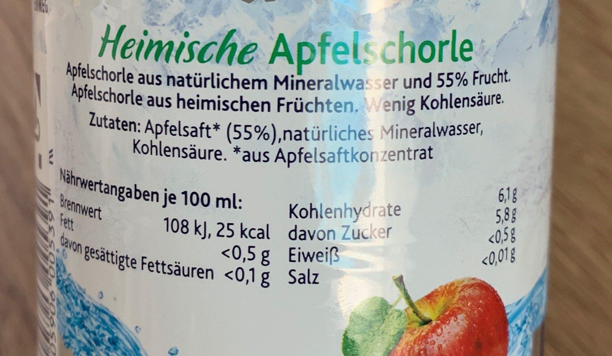 Heimische apfelschorle - Nutrition facts