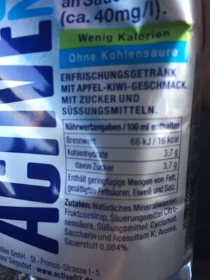 Active O2 Two, Apfel Kiwi - Ingredients
