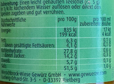 Klare Gemüsebrühe - Informations nutritionnelles - de