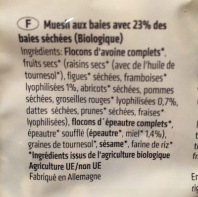 Rosengarten Beeren Müsli - Ingrédients