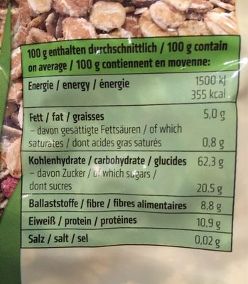 Rosengarten Beeren Müsli - Informations nutritionnelles
