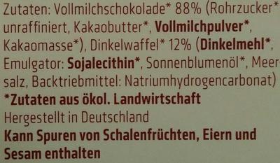 Dinkel Waffelblättchen in Vollmilch-Schokolade - Inhaltsstoffe
