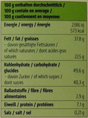 Dinkel Waffelblättchen in Vollmilch-Schokolade - Nährwertangaben