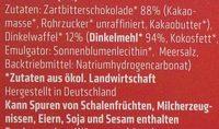 Dinkel Waffelblättchen in Zartbitter-Schokolade - Ingrédients - de