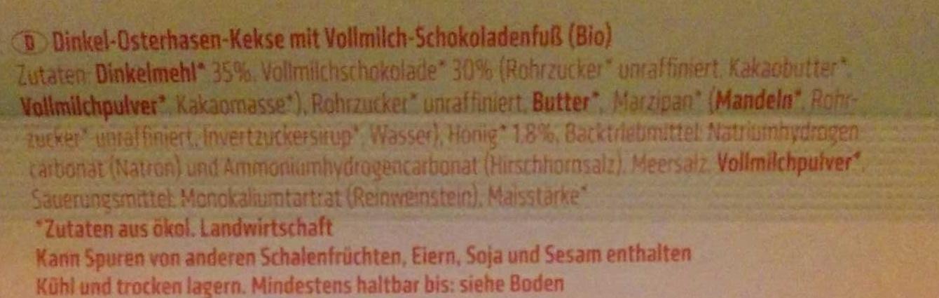 Dinkel Osterhasen-Kekse - Ingredients