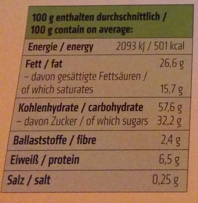 Dinkel Osterhasen-Kekse - Nutrition facts