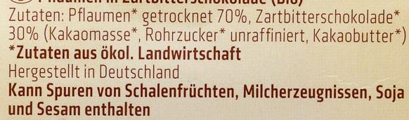 Pflaumen in Zartbitterschokolade - Ingredients - de
