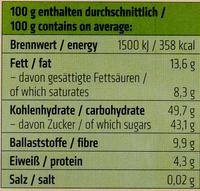Pflaumen in Zartbitterschokolade - Nutrition facts - de