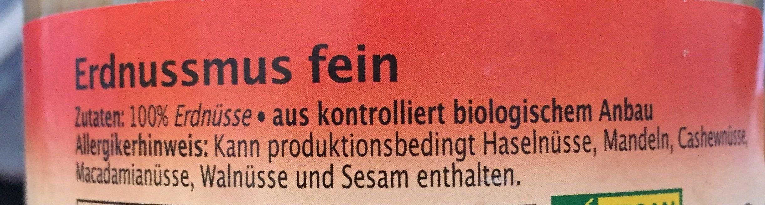 Erdnussmus fein - Ingrédients - fr