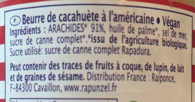 American Style Beurre de Cacahuète - Ingrédients
