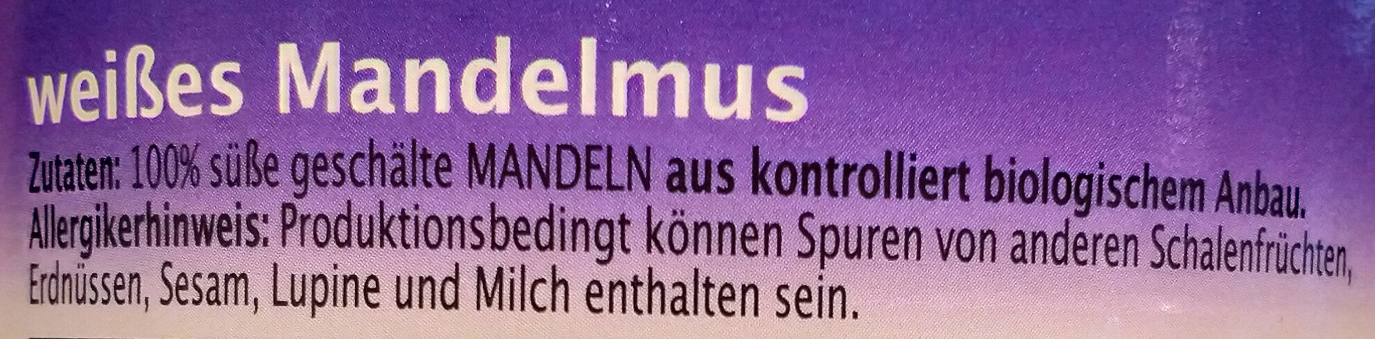 Rapunzel Weißes Mandelmus, 500 GR Glas - Ingrédients - de