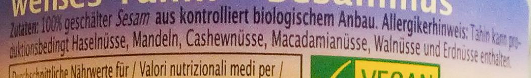 weißes Tahin - Ingredients - de