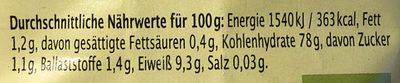Bio Basmati Reis - Nährwertangaben