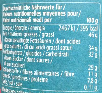 Zartbitter Kokos Creme - Voedingswaarden