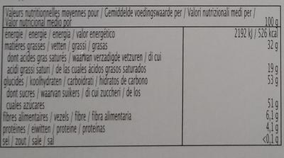 Chocolat noir au gingembre - Informations nutritionnelles
