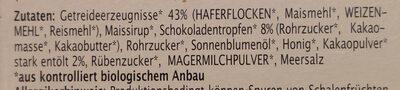 Müsli Snack Schoko - Ingrédients - fr