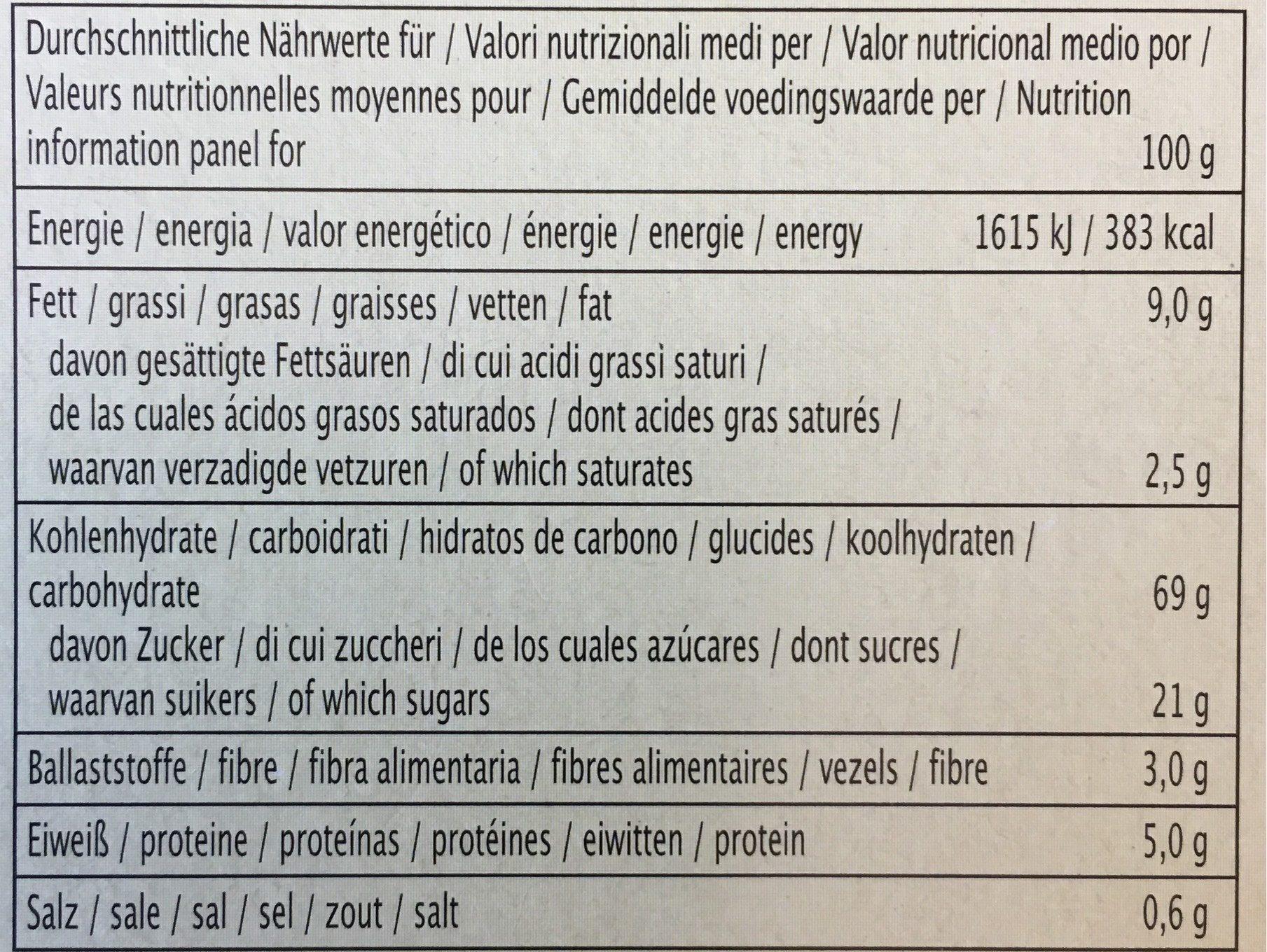 Müsli Snack Schoko - Informations nutritionnelles - fr