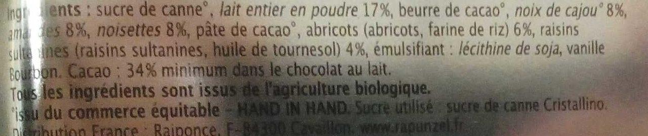 Chocolat au lait au mélange étudiant - Ingrédients