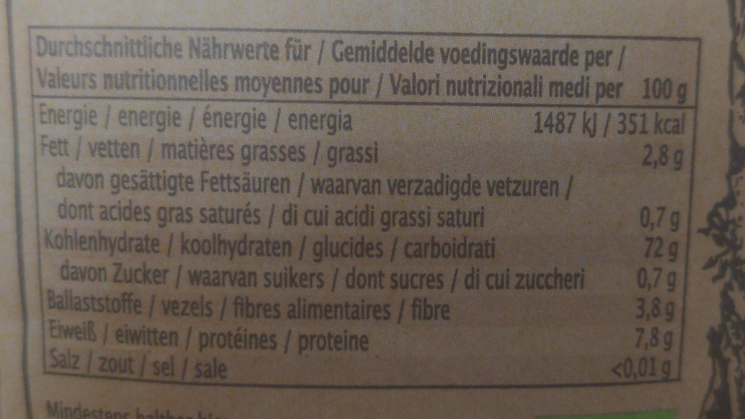 Camargue Red Rice - Informations nutritionnelles - de